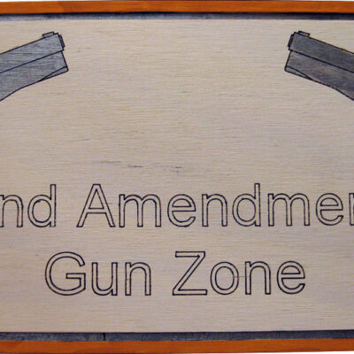 Wood sign depicting 2nd amendment gun rights, home gun protection, & perpetrator gun warning