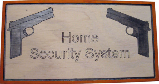 Wood sign depicting 2nd amendment gun rights, home gun protection, & perpetrator gun warning